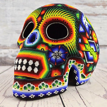H377 Skull Huichol Mexican Folk Art Shipping From Mexico Peyote