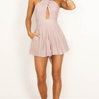 Shine Together playsuit in mocha Produced By SHOWPO