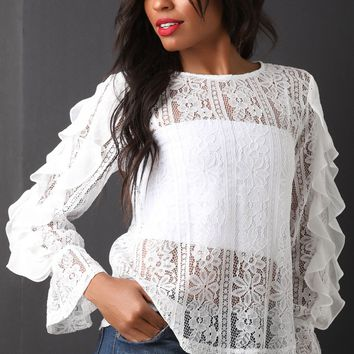 Floral Lace Ruffled Long Sleeve Top