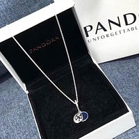 Pandora New fashion moon star pendant sterling silver necklace Silver