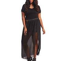 Belted High-Slit Sheer Skirt | Wet Seal+