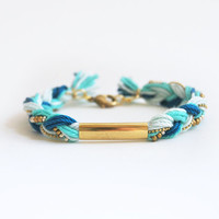 Teal braid bracelet with tube, tube bracelet, boho bracelet, teal bracelet, blue friendship bracelet