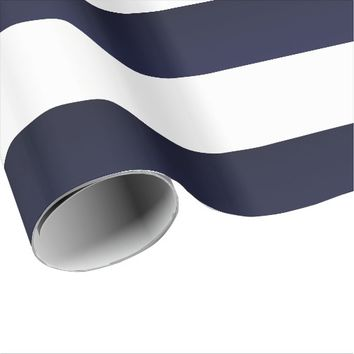 Blue White Stripes Wrapping Paper