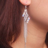Unique Stepped Multicolor Rhinestone Tassels Long Dangle Earrings at Online Cheap Fashion Jewelry Store Gofavor