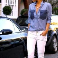 Lapel pocket stitching Shirt Blouse Tops