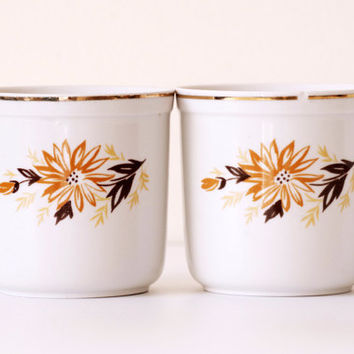 Ceramic flower dandelion nature Russian Soviet tea cups coffee mocha saucers mug milk kids tableware dinnerware china porcelain