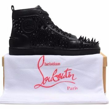 cc qiyif Christian Louboutin Wild Spikes Black And White