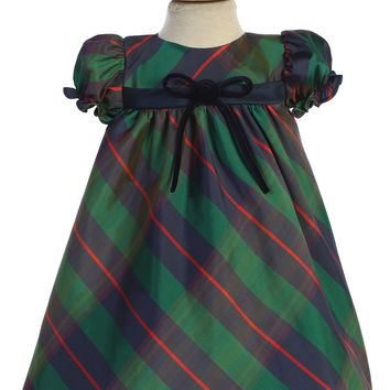 Green Plaid & Navy Blue Trim Baby Girls Holiday Dress 3m-24m