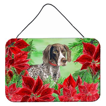 German Shorthaired Pointer Poinsettas Wall or Door Hanging Prints CK1290DS812
