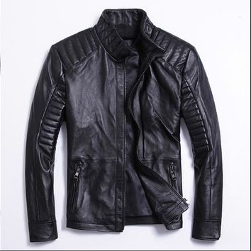 Free .classic style,Plus size soft sheepskin leather Jacket, men's genuine Leather jacket.biker's slim coat,man sales