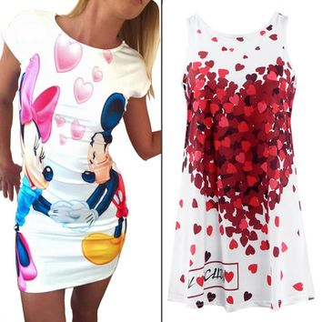 Lovely Heart Cartoon Print Mini Vestidos 2016 Summer Style Plus Size Casual Dresses Party Sexy Bandage Bodycon Women'S Dresses