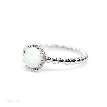Sterling Silver Small Round White Opal Crown Ring S&J