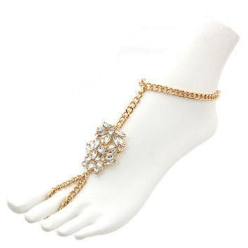 Bling Rhinestone TOE RING LINK CHAIN III Statement Gold Anklet