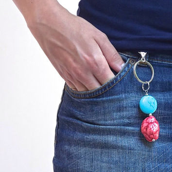 Turquoise Key chain with Red Natural Coral, Silver Keyring and Large Lobster Clasp