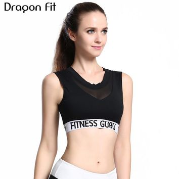 Dragon Fit Mesh Yoga Bra Women Seamless Padded Push Up Bra for Jogging Gym Fitness Cropped Top Lady Running Bras Sportswear Tops