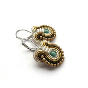 Mustard Earrings Teal and Brown Earrings Small Drop Earrings Small Dangle Earrings Teal Earrings Small Soutache Earrings Sea Ocean Nautical