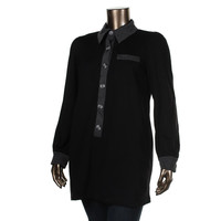 Jules & Jim Maternity Womens Contrast Trim Button Front Tunic Top