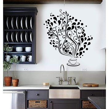 Wall Decal Cup Coffee Cafe Tea Kitchen Bar Restaurant Vinyl Stickers Unique Gift (ig2989)
