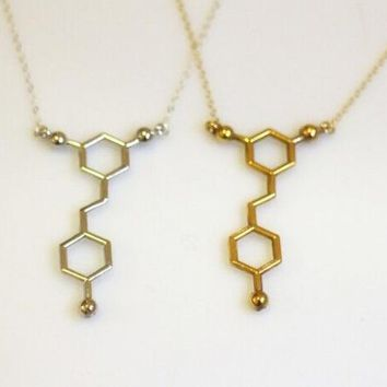 10PCS Resveratrol Red Wine Necklace Chemistry Caffeine Molecular Necklace Formula Hormone Serotonin Molecule Necklaces