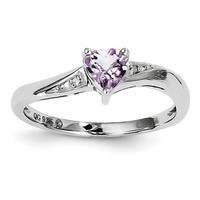 Sterling Silver Pink Quartz Amethyst Heart and Diamond Ring