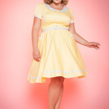 Pinup Couture Plus Size Dee Dee Dress in Pastel Yellow and White Pin Dot