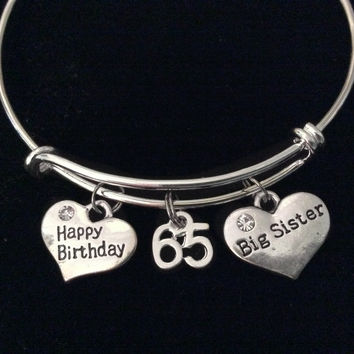 Happy 65th Birthday Big Sister Expandable Charm Bracelet Silver Adjustable Wire Bangle Gift