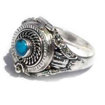 Sterling Silver Poison Ring with Stabilized Turquoise