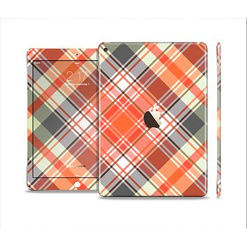 The Gray & Bright Orange Plaid Layered Pattern V5 Skin Set for the Apple iPad Air 2