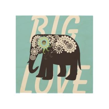 Paisley Elephant Big Love Wood Canvas: Cute & Funny Wild Animal Wood Prints: Wall Decor