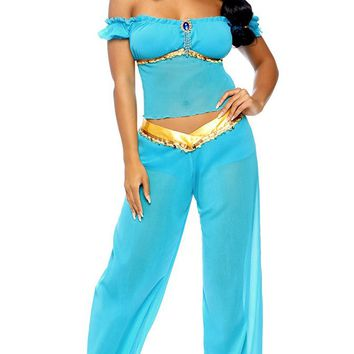 Magic Carpet Wishes Aqua Blue Gold Trim Cap Sleeve Off The Shoulder Top Sheer Mesh Harem Pants Two Piece Jumpsuit Halloween Costume