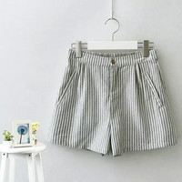 Stripe Zippered Shorts With Pocket