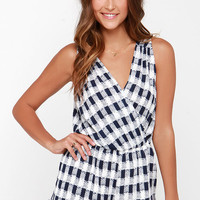 Take Your Pixel Navy Blue and Ivory Print Romper