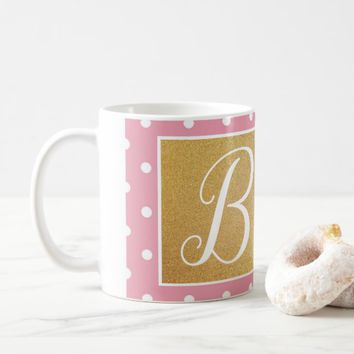 Pink Polkadot and Peonies Coffee Mug | Zazzle.co.uk