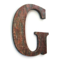 Decorative Letter G industrial distressed metal letter with mesh pattern and copper faux finish, 10 inch, ready to ship