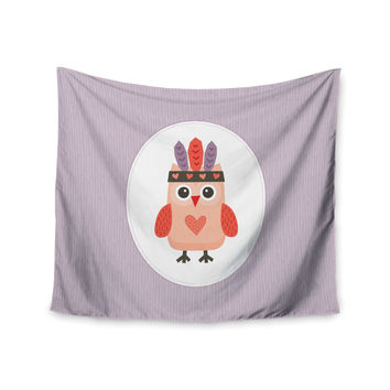 "Daisy Beatrice ""Hipster Owlet"" Purple Wall Tapestry"