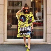 BringBring 2016 Summer Harajuku Style Skull Printing Yellow Dress for Women Plus Size Short Sleeve Dress 1704
