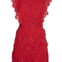 Scallop Lace Skater Dress - Red