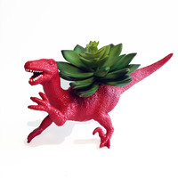 Up-cycled Red Velociraptor Dinosaur Planter