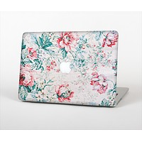 The Coral & Blue Grunge Watercolor Floral Skin Set for the Apple MacBook Air 11""