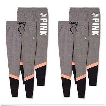 Pink Sports Autumn Stylish Pants [510290427958]