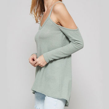 long sleeve cold shoulder thermal top - sage