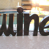 Large Forged Iron Metal 3d Word Art Wine Sign Made in Mexico Rustic Primitive Home Bar Decor
