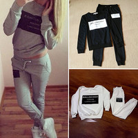 Women  Suits Long Sleeve Sweatshirts Letter Print Jogger Tracksuit Set