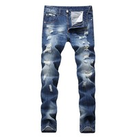 Ripped Holes Slim Fashion Jeans [454562218013]