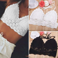 SANTORINI CROCHET CROP TOP IN WINE