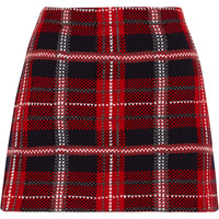 Miu Miu - Tartan wool-tweed mini skirt