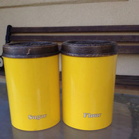 Yellow Canister Set, Cheinco Yellow Can, Yellow Tin Can, Yellow Flour Sugar Can, Retro Tin Can, MCM Kitchen, Mid Century MoDern Decor