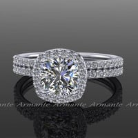 Platinum Moissanite & Diamond Halo Wedding Rings Set