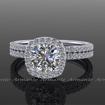 Forever One Engagement Set Moissanite Diamond Halo Bridal Set Platinum Wedding Ring Re00145fo