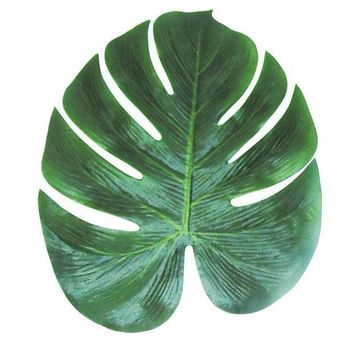 ICIKF4S 12pcs Artificial Leaf 35x29cm Tropical Palm Leaves Simulation Leaf for Hawaiian Luau Theme Party Decorations Home garden decor